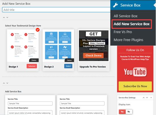 Creazione di un nuovo set di box di servizi in WordPress