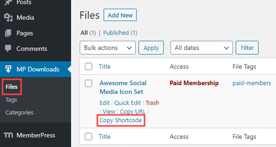 Copia lo shortcode MemberPress per il tuo file