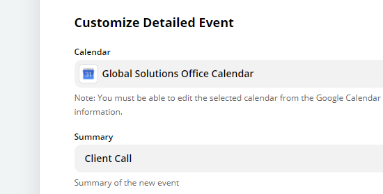"Type in an summary for your Google Calendar event, e.g. ""Client Call"""