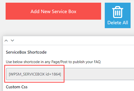 Get the shortcode that lets you add your service boxes into a page, post, or widget area