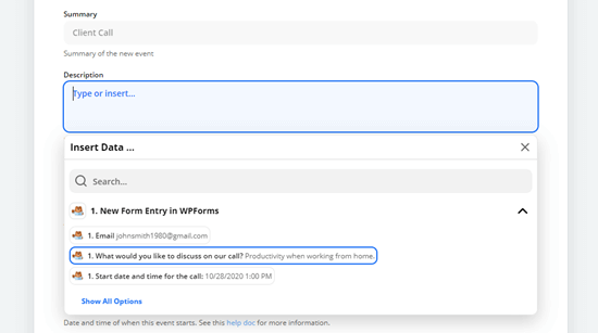 Select the form field that you want to use for the Google Calendar event's description