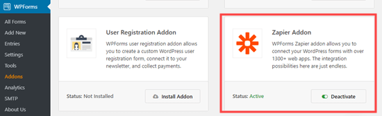De Zapier-add-on voor WPForms installeren