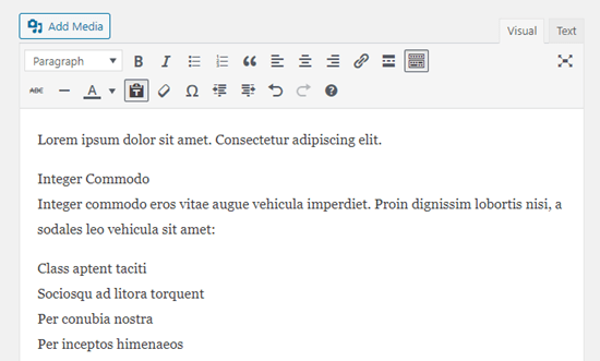 The Google docs text pasted as plain text in the WordPress classic editor