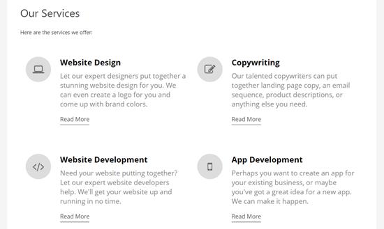 Una pagina di servizi completa con una sezione di servizio