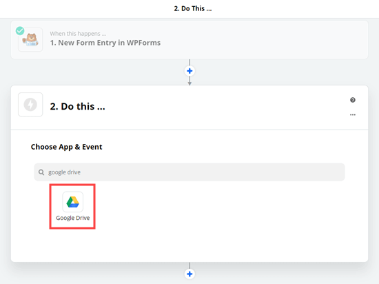 Choosing the Google Drive app as the action for the zap