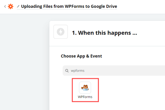 Choosing the WPForms app in Zapier