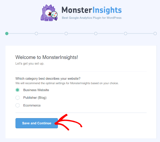 Select Website Category on MonsterInsights