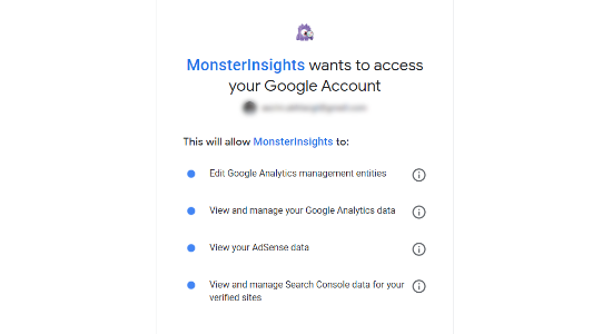 consentire a monsterinsights di accedere all'account Google