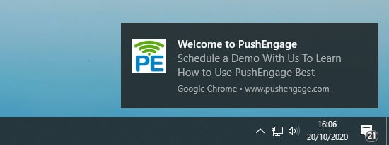 An example push notifiation from PushEngage