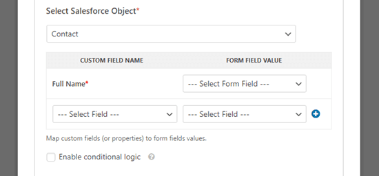 The new field boxes for the Salesforce Object