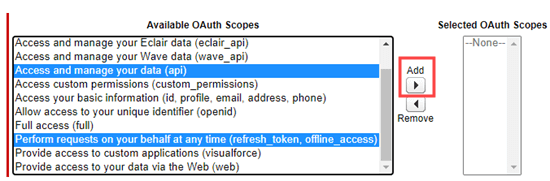 Selecting the OAuth permissions for your app