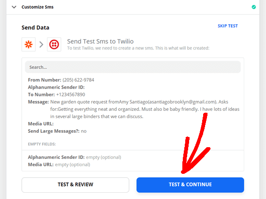 Sending a test SMS through Zapier