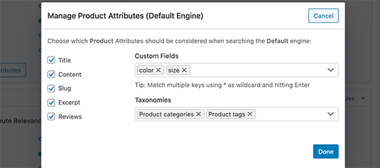 Adding product attributes and taxonomies into search