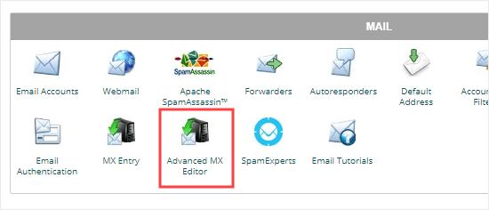 De Advanced MX Editor openen vanuit cPanel