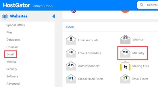 Öffnen Sie die MX-Eintragsseite für Ihre Domain