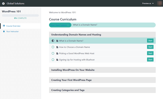 The MemberPress course curriculum that users see, showing their progression through the course