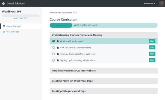Il programma del corso MemberPress che gli utenti vedono, che mostra la loro progressione nel corso