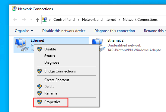 Click the properties for your active Internet connection