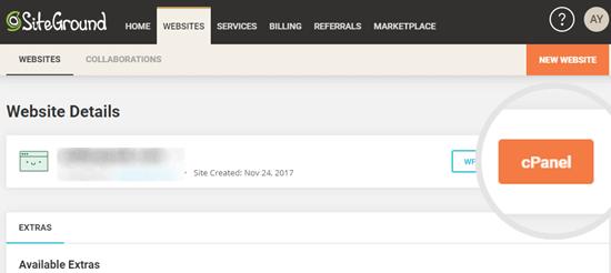 SiteGround'da cPanel'e erişmek için düğmeye tıklamak