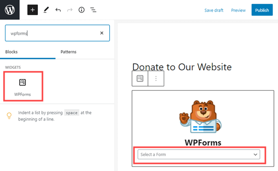 Creating a WPForms block and selecting your form from the dropdown list