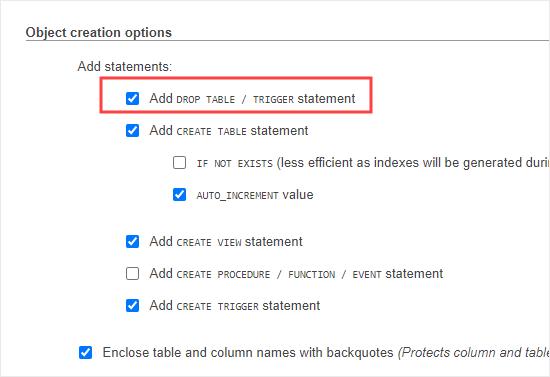 De instructie Drop Table toevoegen