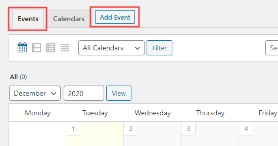 The Add Event button that allows you to create a new event