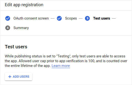 Adding test users to your Google app