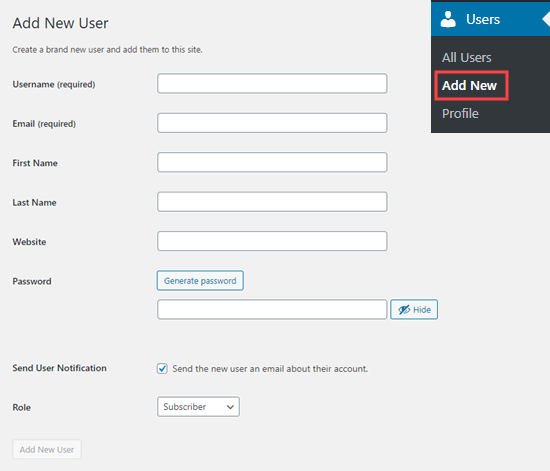 Fill out the form to add a new user to your website