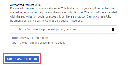 Click the Create OAuth Client ID button