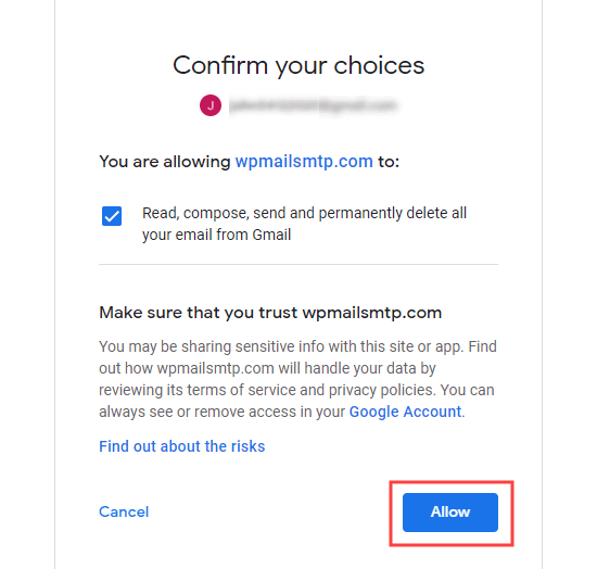 Confirm the permissions that you are giving your Google app