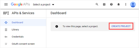 Creating a project in the Google Developers Console dashboard