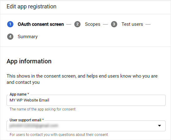 Entering the OAuth registration details for your app