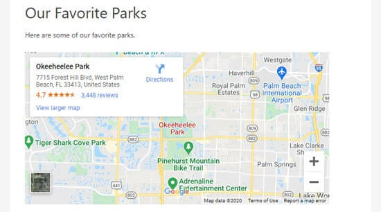 The Google map on the site with a set height and width