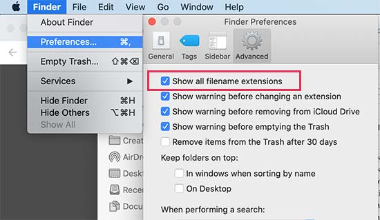 Show file extension on Mac