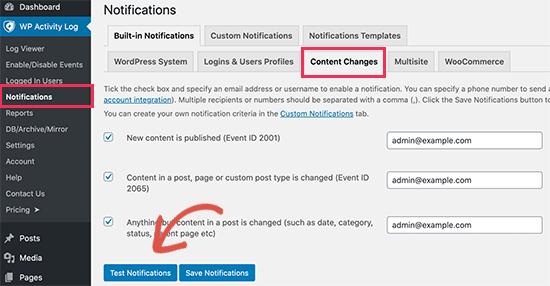 Notifiche di prova nel registro delle attività di WordPress