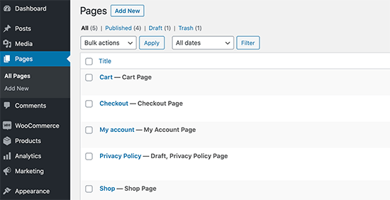 WooCommerce standard pages