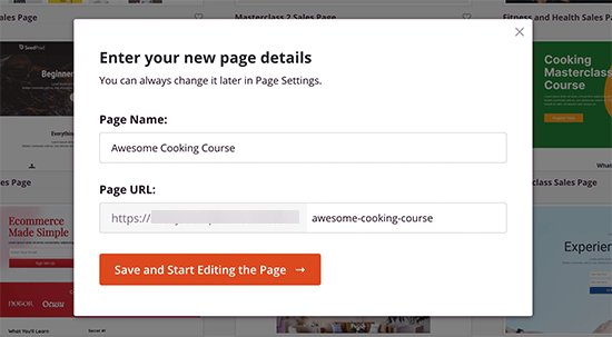 Choose page name and URL slug