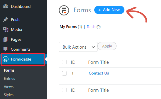 Create new BMI calculator form