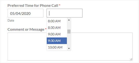 The default time picker (dropdown list at 30 minute intervals)