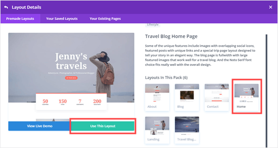 Choose the layout you want to use in Divi