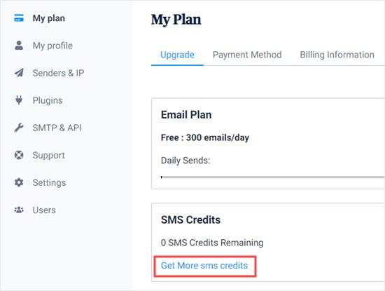 Fai clic per ottenere altri crediti SMS