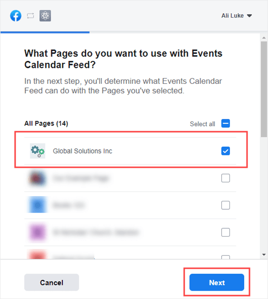 Select the page that you want to use for your events feed