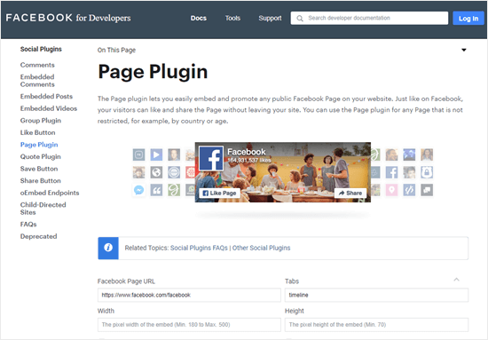 The Facebook for Developers page plugin tool